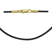 Колье жгут с каучуком, желтое золото 2.6мм