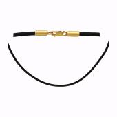 Колье с каучуком/текстильным шнурком, желтое золото 3мм