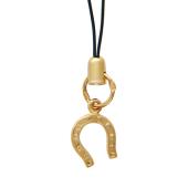 """Подвеска на телефон """"Подкова"""", красное золото, текстильный шнурок; 1.0 см, с ушком: 2.0 см"""