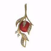 Кулон Веточка с кораллом и фианитами, желтое золото