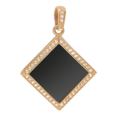Кулон с квадратным агатом и рамкой фианитов, красное золото