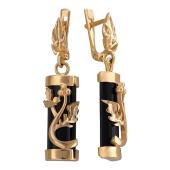 Серьги Виноградная Лоза с агатом формы цилиндр, красное золото