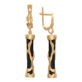 Серьги длинные с агатом формы цилиндр, анималистический узор, красное золото