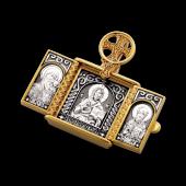 Складень с иконами Господь Вседержитель, Казанская икона Божией Матери, Святой Николай Чудотворец, серебро с позолотой и чернением