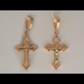 Крест православный с бриллиантами, комбинированное золото 24.8 мм