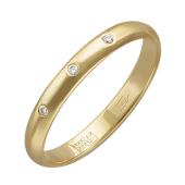 Кольцо обручальное с тремя бриллиантами, желтое золото 3.1мм