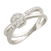 Кольцо Цветок с бриллиантами, белое золото 750 проба