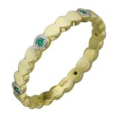 Кольцо Викс с изумрудами в сердечках, желтое золото