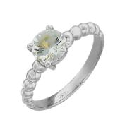 Кольцо с большим круглым аквамарином (топазом) , белое золото