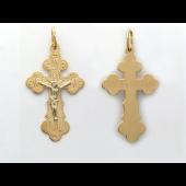 """Крест православный, красное и белое золото 585 пробы, на обратной стороне надпись """"спаси и сохрани"""" 30 мм"""