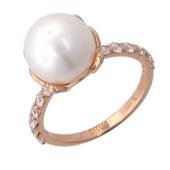 Кольцо с белым жемчугом и узкой дорожкой фианитов, красное золото