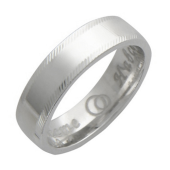 Обручальное кольцо, гравировка Вместе Навсегда алмазная огранка по краям, белое золото, 5 мм