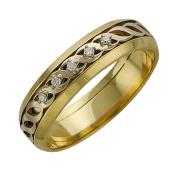 Кольцо обручальное с пятью бриллиантами, желтое и белое золото 5мм