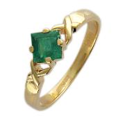 Кольцо с квадратным изумрудом (сапфиром, рубином), красное золото