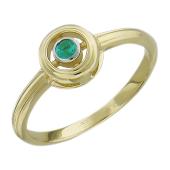 Кольцо с изумрудом в круге, желтое золото