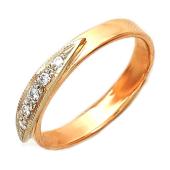Кольцо обручальное с лепестком из бриллиантов, комбинированное золото, 585 пробы