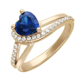 Кольцо Сердце Океана с цветным камнем формы и фианитами, красное золото