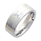 Обручальное кольцо, белое золото, 585 пробы, бриллиант, широкая шинка с канавками, широкий торец 7.5мм
