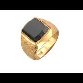 Мужское кольцо с чёрным фианитом, красное золото