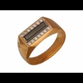Мужское кольцо с чёрным и прозрачными фианитам, комбинированное золото