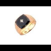 Мужское кольцо с чёрными фианитом и звездой с прозрачным фианитом, комбинированное золото