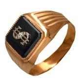 Кольцо мужское со знаком доллар $, чёрный фианит, красное и белое золото