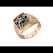 Кольцо мужское Скорпион, черный фианит, красное золото, скорпион из белого золота