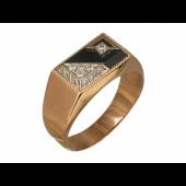 Мужское кольцо с треугольниками, чёрный и прозрачные фианиты, комбинированное золото