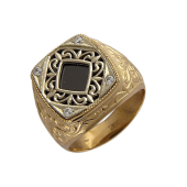 Кольцо мужское, в центре квадрат с чёрным фианитом, прозрачные фианиты, комбинированное золото