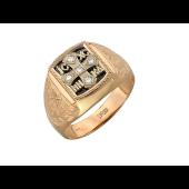 Мужское кольцо Крест, чёрный и прозрачные фианиты, красное и белое золото