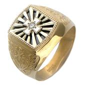 Мужское кольцо Крест, чёрный и прозрачный фианиты, комбинированное золото
