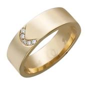Обручальное кольцо с дугой из бриллиантов, красное золото 6.5мм
