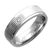 Обручальное кольцо, белое золото, 585 пробы, бриллиант, средняя шинка, резьба посередине, гравировка Вместе Навсегда 5.5мм