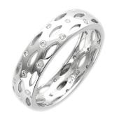 Кольцо обручальное с перфорацией и бриллиантами, белое золото 750 проба 5.7мм