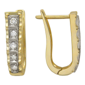 Серьги Дорожка с бриллиантами, желтое и белое золото 750 проба