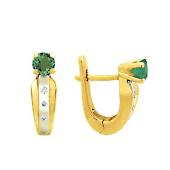 Серьги с круглым изумрудом и бриллиантами, желтое золото 750 пробы
