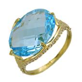 Кольцо с крупным овальным камнем и фианитами, желтое золото