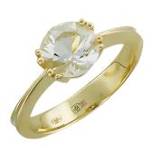 Кольцо с круглым аметистом в восьми держателях, желтое золото