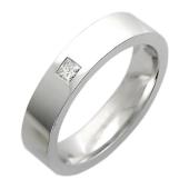Обручальное кольцо, белое золото, 585 пробы, бриллиант, средняя шинка, широкий торец, квадратная вставка 4.8мм
