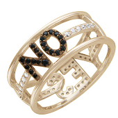Кольцо с чёрными и прозрачными фианитами и надписью Yes No, красное золото