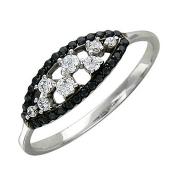 Кольцо Корзиночка с чёрными и бесцветными фианитами, белое золото