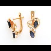 Золотые серьги с драгоценными камнями Маркиз и петлями из золота, красное золото