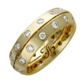 Кольцо обручальное с бриллиантами по всей шинке, желтое золото 750 проба