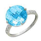 Золотое кольцо с полудрагом формы бриолет круг и фианитами по шинке, белое золото