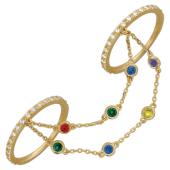 Кольца для рук с браслетами Панье, цветные фианиты и желтое золото