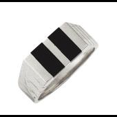 Мужское кольцо, оникс два прямоугольника, белое золото 585 пробы
