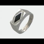 Мужское кольцо, оникс, фианиты ромбом, белое золото, 585 пробы