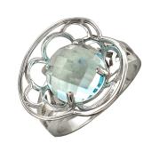 Кольцо с круглым топазом, белое золото