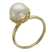 Кольцо, желтое золото, белый жемчуг в ажурном держателе