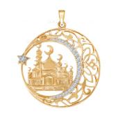 Золотая подвеска Мечеть с фианитами